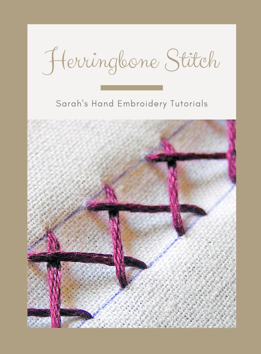 How to do Herringbone Stitch   Sarah's Hand Embroidery Tutorials