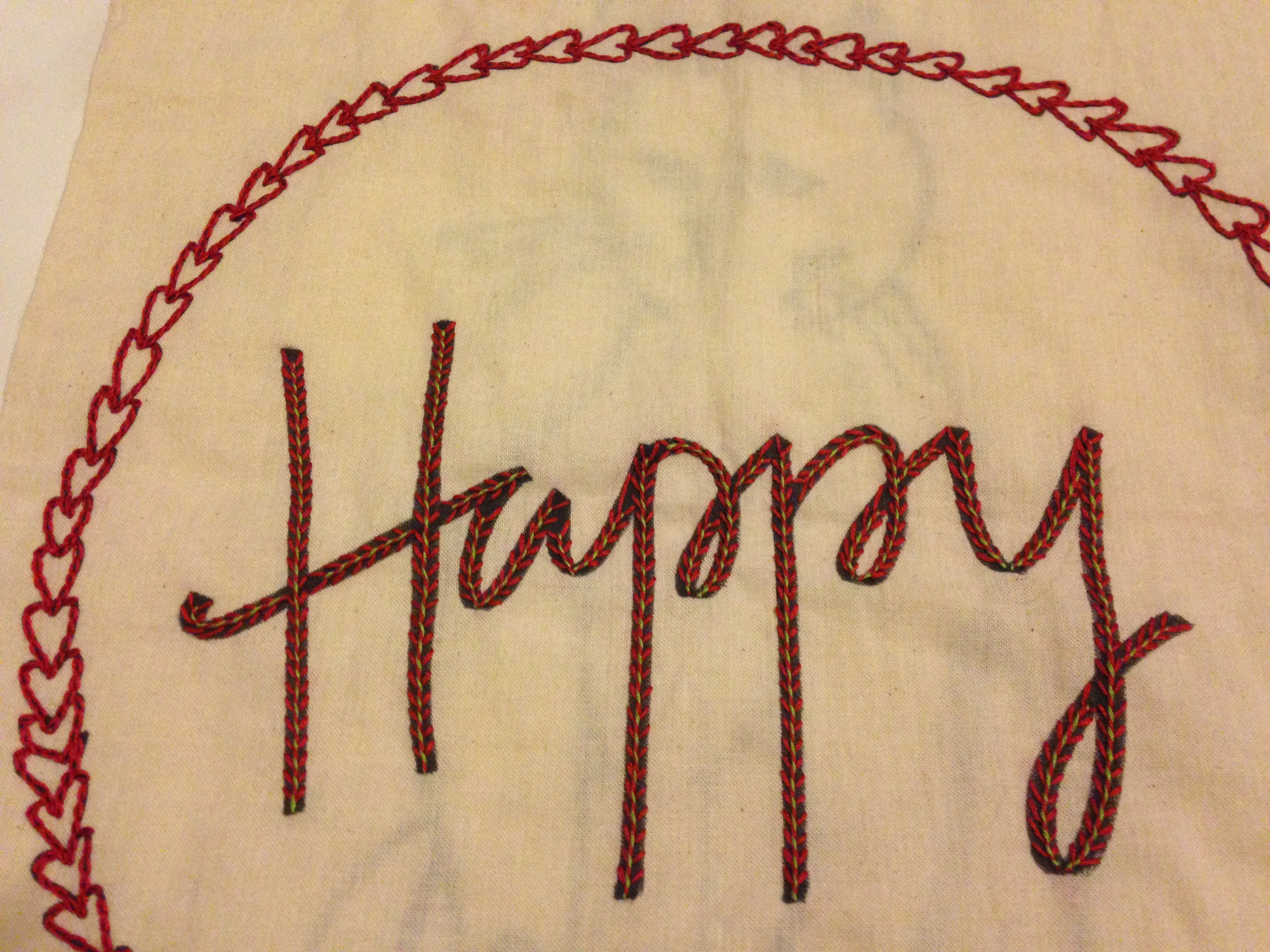 Did This! Words Using Whipped Fly Stitch And The Hearts Using Chain Stitch  All Thanks